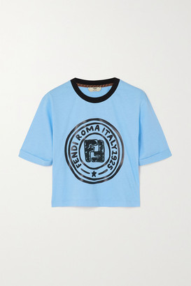 Fendi Cropped Embroidered Printed Cotton-jersey T-shirt - Blue