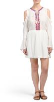 Juniors Cold Shoulder Embroidered Dress