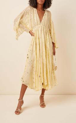 LoveShackFancy Solana Flowing Silk-Blend Midi Dress