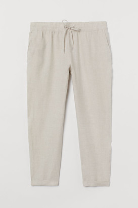 H&M H&M+ Pull-on Linen Pants - Beige