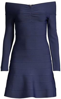 Herve Leger Off-The-Shoulder Mini Dress