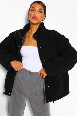 boohoo Teddy Faux Fur Mix Puffer Jacket