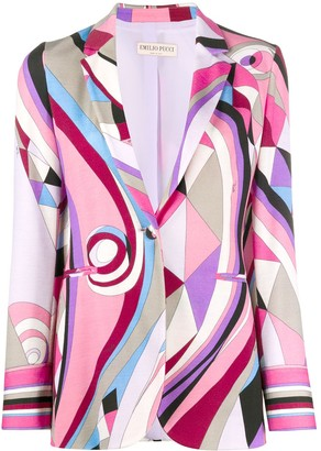 Emilio Pucci Abstract-Print Single-Breasted Blazer