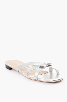 Loeffler Randall Silver Eveline Delicate Strap Flat Sandals