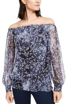 INC International Concepts Inc Off-The-Shoulder Smocked Top, Created for Macy's
