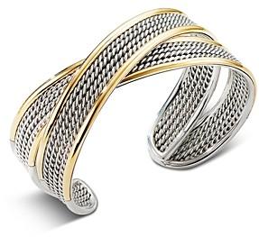 David Yurman Sterling Silver & 18K Yellow Gold Origami Narrow Crossover Cuff Bracelet