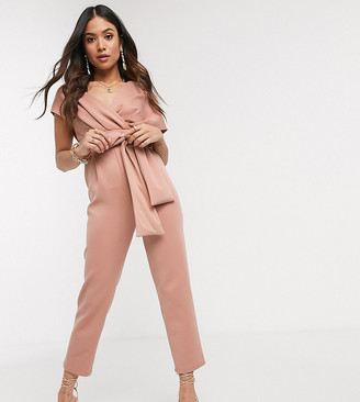 ASOS DESIGN Petite fallen shoulder scuba jumpsuit in blush