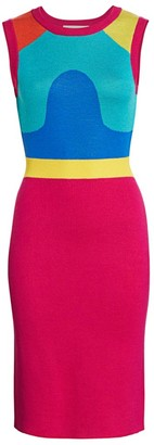 Victor Glemaud Colorblock Sleeveless Midi Sheath Dress