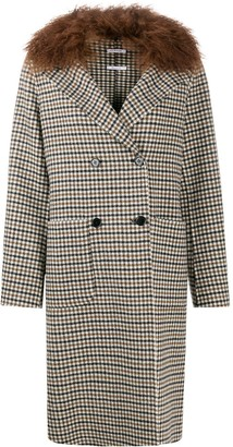 P.A.R.O.S.H. Check Shearling Collar Coat