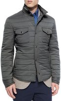 Brunello Cucinelli Milano Snap-Front Shirt Jacket, Charcoal