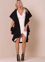 Missy Empire Zandra Black Waterfall Sleeveless Coat