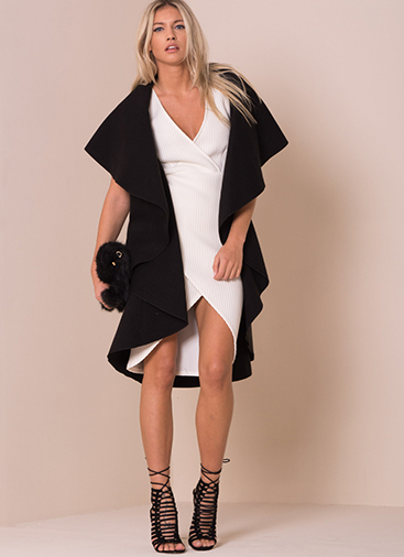 Missy Empire Zandra Black Waterfall Sleeveless Coat