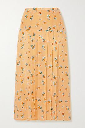 Rixo Nancy Pleated Floral-print Silk-crepe Midi Skirt