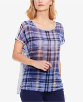 Vince Camuto Two By Mixed Media Plaid T-Shirt