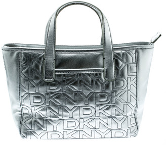 DKNY Silver Signature Leather Zip Tote