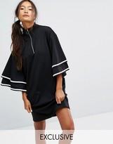 Monki Ruffle Sleeve Zip Up Sporty Dress
