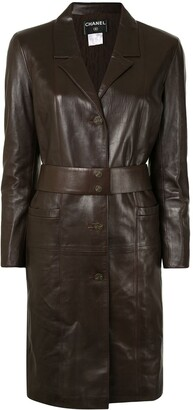 Chanel Pre Owned 2004 Belted Leather Coat