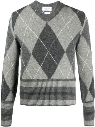 Thom Browne Tonal Shetland Argyle V-Neck Pullover
