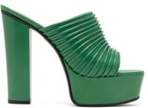 Givenchy Ribbed Leather Platform Mules - Womens - Green