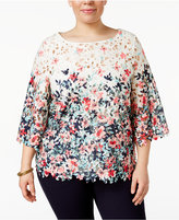 Charter Club Plus Size Floral-Print Lace Top