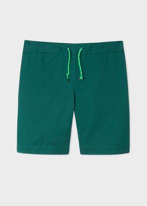 Paul Smith Men's Dark Green Cotton Shorts With Drawstring Waistband