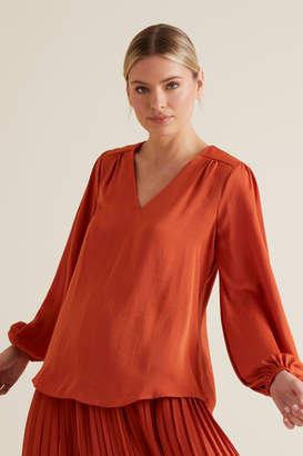 Seed Heritage Gathered V Neck Blouse