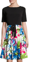 Ellen Tracy Fit-and-Flare Tie-Waist Dress, White Multi