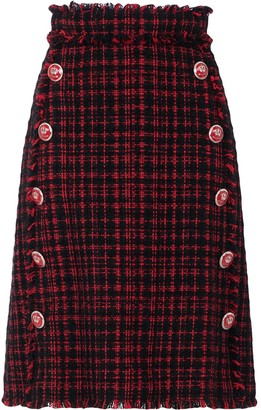Dolce & Gabbana Tartan Tweed Button-Embellished Skirt