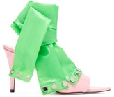 Christopher Kane Latex-strap Patent-leather Mules - Womens - Pink Multi