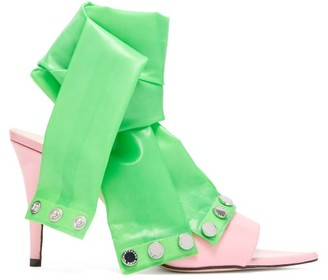 Christopher Kane Latex-strap Patent-leather Mules - Pink Multi