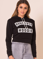 Missy Empire Aby Black Cropped Hangover Hoodie
