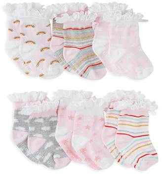 Elegant Baby Girls' 6-Piece Ruffled Rainbow Socks Set - Baby