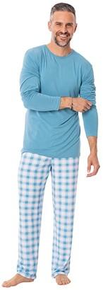 Kickee Pants Long Sleeve Pajama Set (Blue Moon 2020 Holiday Plaid) Men's Pajama Sets