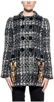 Dolce & Gabbana Black/gray/white Wool Tweed Coat