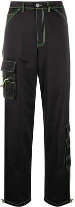 Ireneisgood Contrast-Stitch Combat Trousers