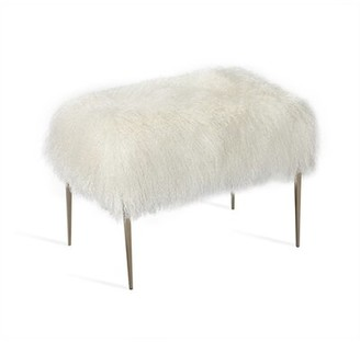 Interlude Stiletto Metal Sheepskin Accent Stool