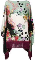 Etro floral print fringed poncho - women - Silk/Viscose - One Size