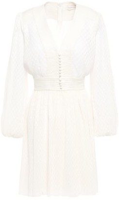 Zimmermann Button-detailed Pleated Fil Coupe Mini Dress