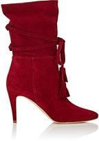 Manolo Blahnik Women's Cavamod Suede Ankle Boots-RED