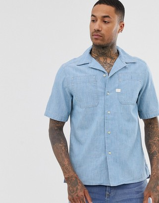 G Star G-Star Kinec organic cotton short sleeve chambray shirt in blue