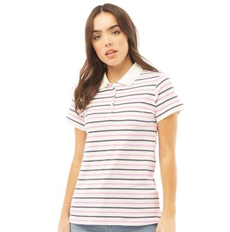 Crew Clothing Womens Spot Stripe Polo Pink/Navy