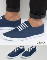 Asos Sneakers 2 Pack In Navy