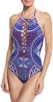 Trina Turk Jakarta Embroidered One-Piece Swimsuit, Blue