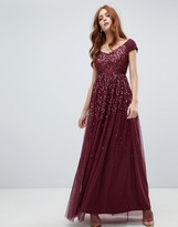 Amelia Rose embellished ombre sequin maxi dress with cami strap in berry