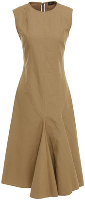 Joseph Fluted Cotton And Linen-blend Midi Dress