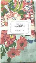 """April Cornell Set of 4 Napkins 16"""" X 16"""" Zinnia Floral Aqua 100% Cotton"""
