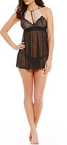 Cinema Etoile Kris Dotted Tulle & Lace Halter Babydoll