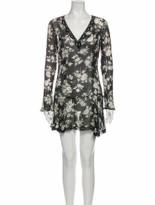 Dolce & Gabbana Floral Print Mini Dress Black