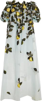 Oscar de la Renta Lemon-Print Silk-Blend Off-The-Shoulder Gown