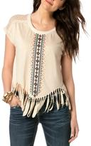 Miss Me Embroidered Fringe Top